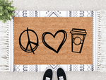 Load image into Gallery viewer, Peace, Love & Pumpkin Spice Doormat