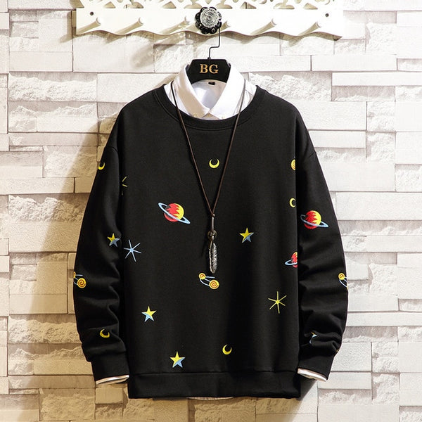 Black White Hip Hop Punk Pullover Streetwear Casual