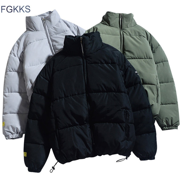 Men Solid Color Parkas Quality Brand Stand Collar Warm Thick Jacket Casual Parka Coat