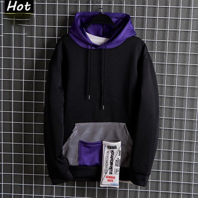 Plus Size Patchwork Contrasted Color hoodies