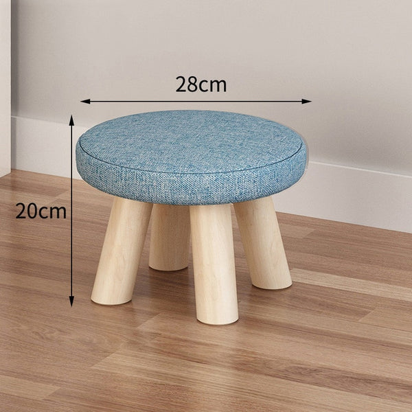 Hot Nordic Footrest Seat Stool With Removable Cover 3 Legs Modern Luxury Upholstered Solid Wood Footstool With Ottoman Pouf