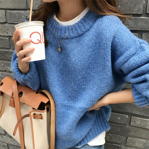Sweater Winter Solid O Neck Pullover Sweaters Korean Style