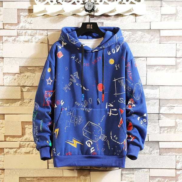 Black Patchwork Hoodies Casual Pullover