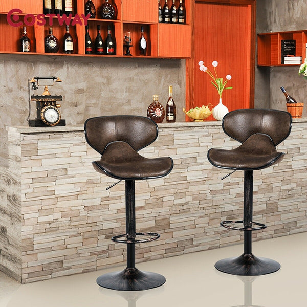 Set of 2 Adjustable Bar Stools Counter Height Chairs Unique Hot-stamping Cloth Seat Bar Chair