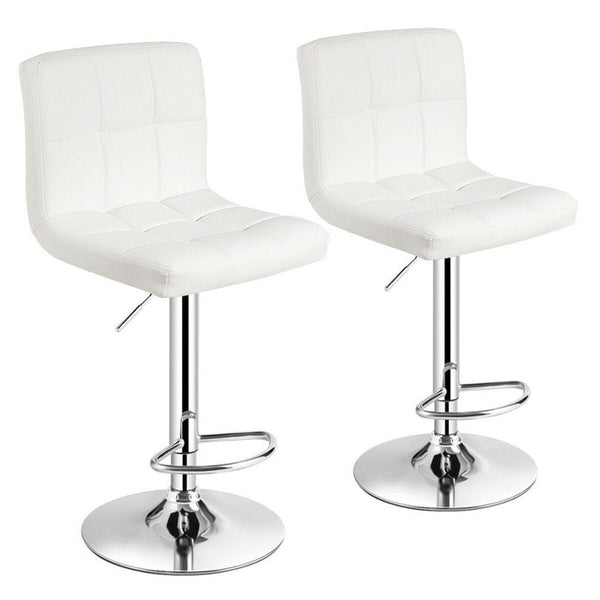Set of 2 Adjustable Bar Stools PU Leather Swivel Kitchen Counter Pub Chair