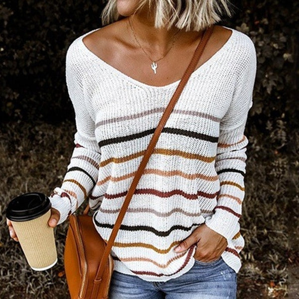 V Neck Sweater Casual Long Sleeve Knitted Jumper