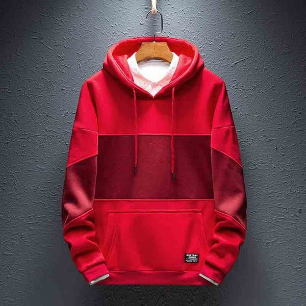 Men Spring Autumn Fashion Casual Long Sleeve Streetwear Patchwork Hooded Sweatshirts