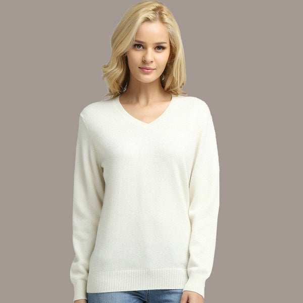 Female Long Sleeve V-neck Cashmere Sweater And Pullover