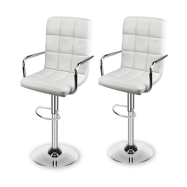 Set of 2 Modern Leather Bar Stools Dining Chairs Height Adjustable Swivel Stools Kitchen Counter Bar Chairs for Home Office Bar