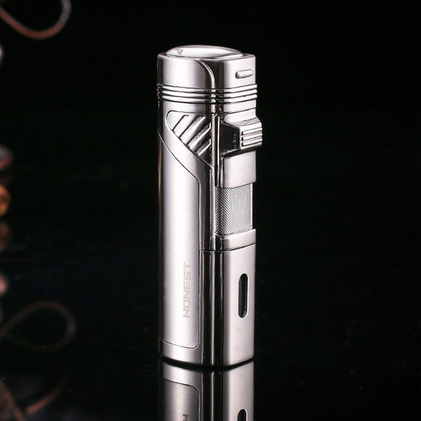 HONEST 4 Jet Torch Flame Metal Cigar Lighter Butane Cigarette Windfroof Lighter Gadgets For Gifts with Cigar Punch