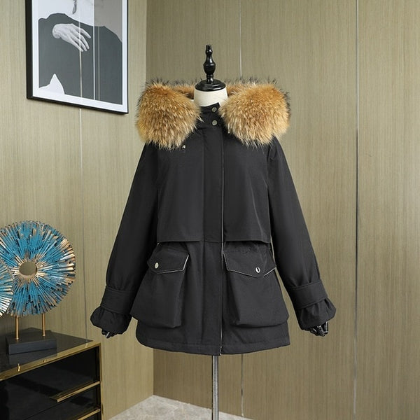 Large Natural Fox Fur Hooded Winter Jacket