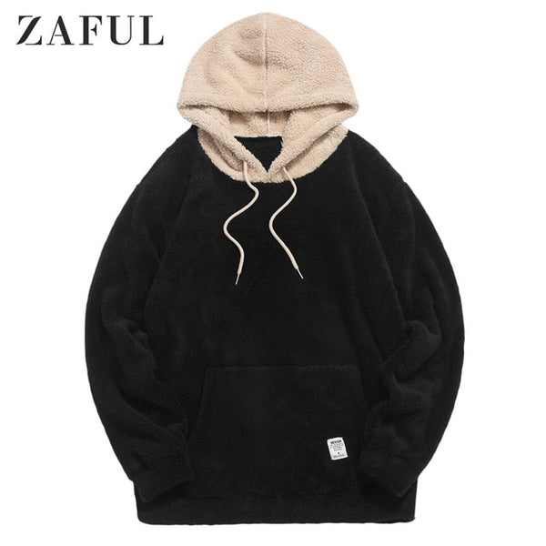 Winter Color block Splicing Faux Fur Fluffy Hoodies Men