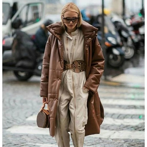 Down Parkas Women Fashion High Imitation Leather Coats