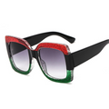 Gradient Glitter Sunglasses Red Green Black