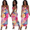 Abstract Colorful Strapless Dress