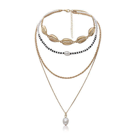 Boho Multi Layered Chain Choker Pearl Necklace