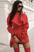 Scoop Neck Belted Sweatshirt Dress