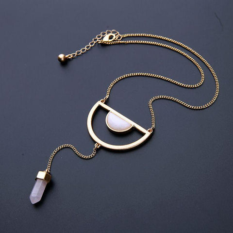 Minimalist Natural Stone Pendant Necklace