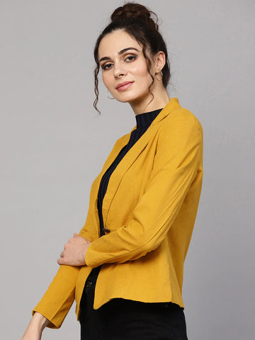 Women Mustard Yellow Solid Single-Breasted Blazer