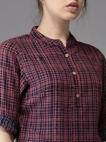 Moda Rapido Women Navy & Red Checked Shirt-Style Top