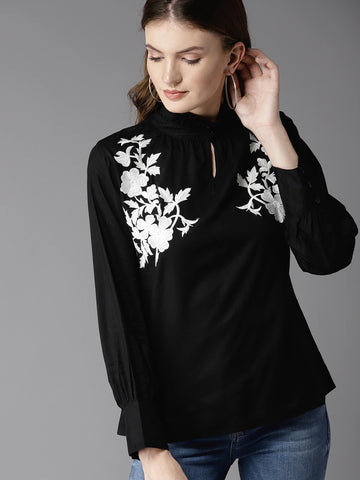 HERE&NOW Power Of Flower Embroidered Top