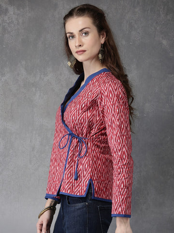 Anouk Women Red Quilted Winter Ethnic Jacket