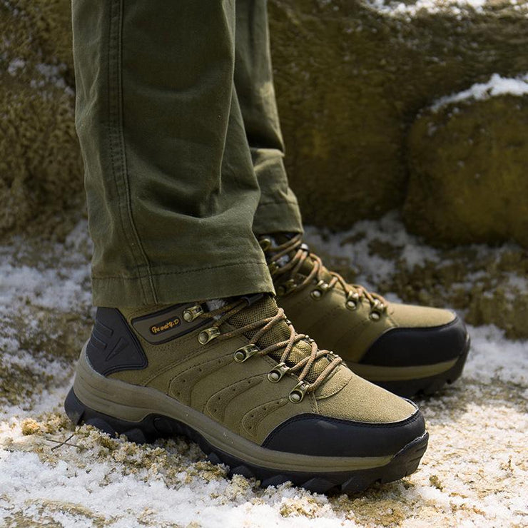 Men's Outdoor Warm Plush Lined Non Slip Lace Up Hiking Climbing Boots