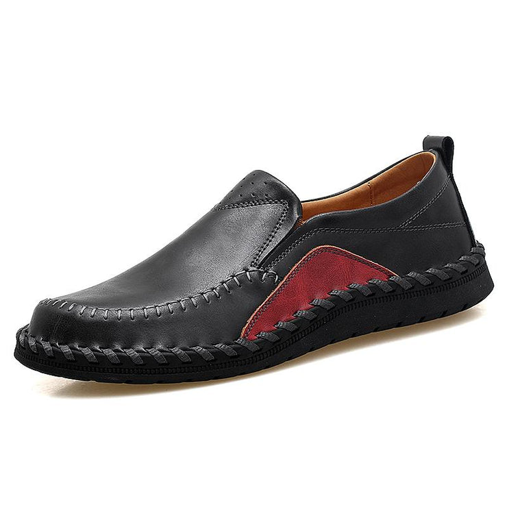Man comfortable sewing recreational leather shoes