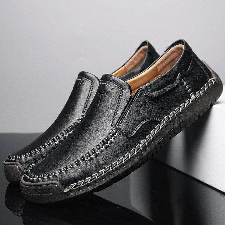 Men Classic Hand Stitching Rubber Toe Soft Non Slip Leather Loafers
