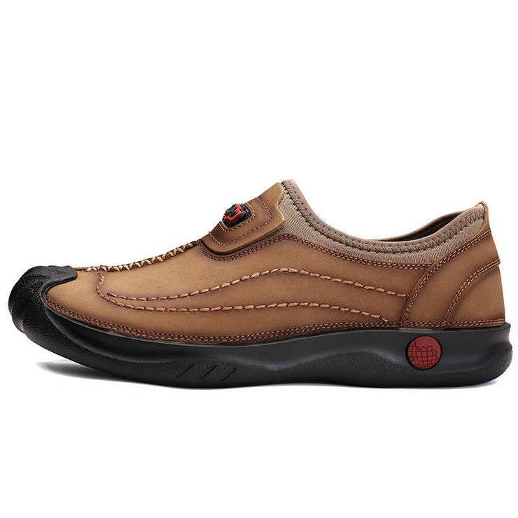 Men's Comfy Anti-collision Toe Slip On Non Slip Casual Leather Loafers