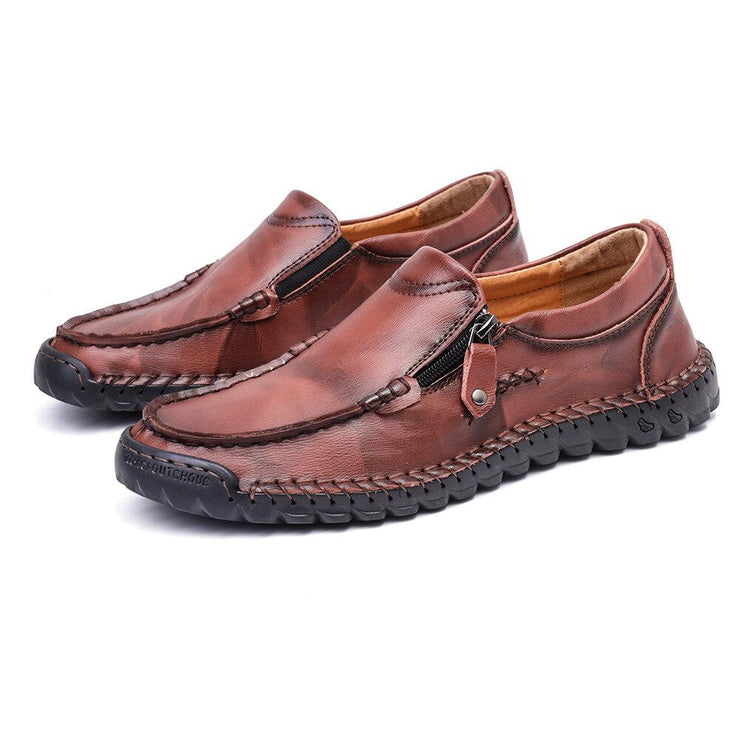 Men's Hand Stitching Non Slip Side Zipper Casual Leather Shoes