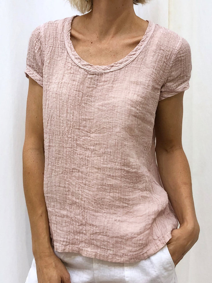 Women Solid Round Neck Cotton Casual Tops