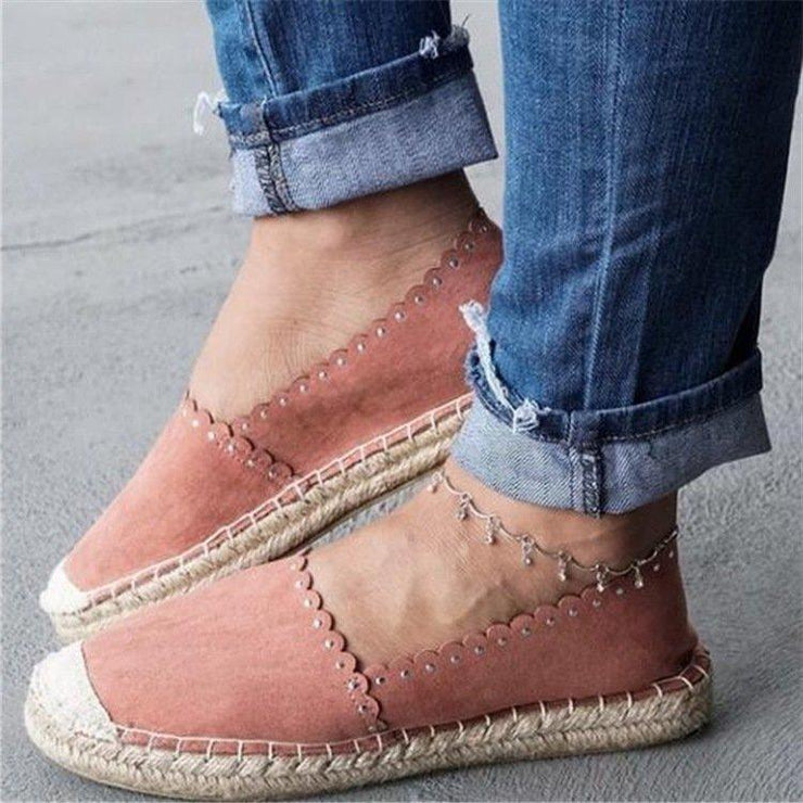 Women's Large Size Lazy Retro Slip On Espadrilles Flat Loafers