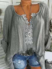 Women's Long Sleeve Casual Solid V neck Plus Size Blouse