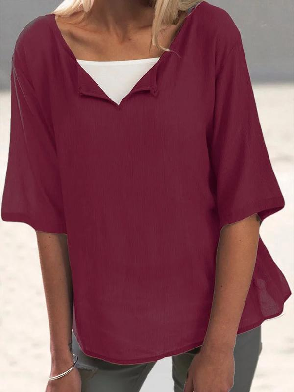 Women's Cotton Linen Blouse Casual Half Sleeve Solid Shirts & Tops