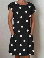 Women's printing paste large round neck short pockets adjustable sleeves Dress