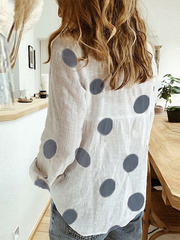 Women's White Casual Printed Polka Dots Shirts & Tops