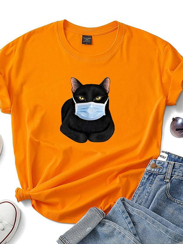 Casual Plus Size Printed Short Sleeve Tee Shirts Tops