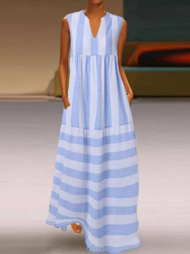 Women's Holiday Seaside Light Blue Stripes Casual Sleeveless A-line Swing Dresses