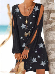 Women's Black Cotton Printed Star Casual Cutout Patchwork Dresses