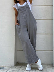 Women's Casual Plus Size Pocket Jumpsuit Overalls One-Pieces