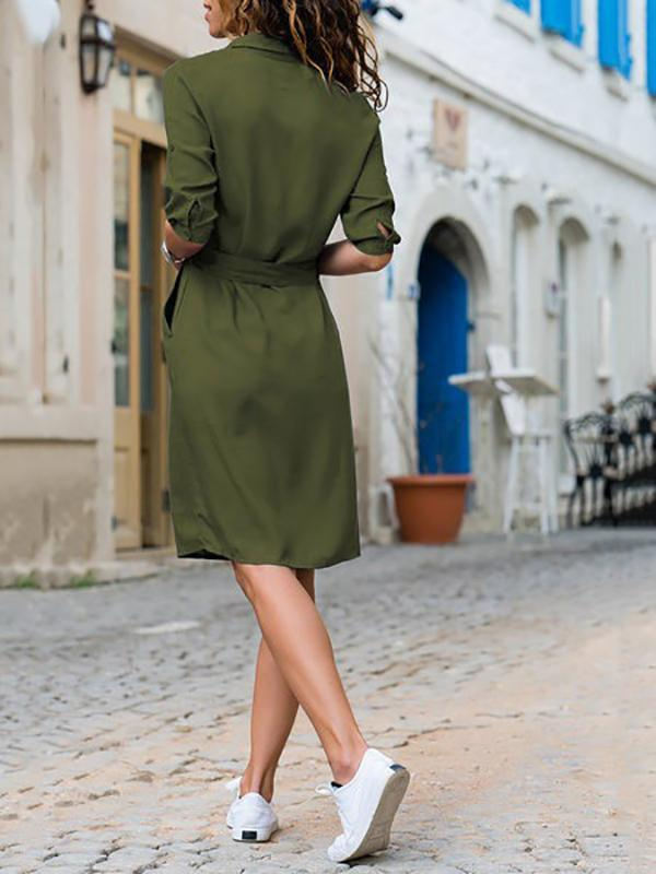Women's Casual Solid Color Shawl Collar Dress