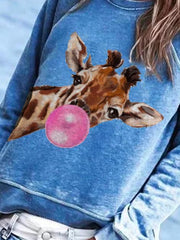 Women's Blue Animal Long Sleeve Shirts & Tops