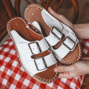 Women's Buckle Bright Leather Slippers