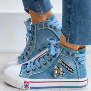 Women's Denim Skull Zipper Lace-up Flat Heel Sneakers