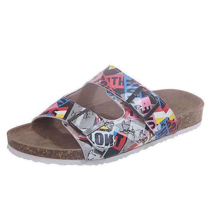 Women's Printing Hit Color Open Toe Slip On Flat Heel Slippers