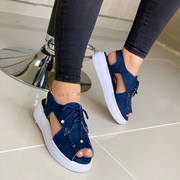 Women's Summer Thick Bottom Muffin Fish Mouth Lace Up Roman Shoes