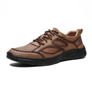 Men's Microfiber Leather Hand Stitching Non Slip Soft Casual Shoes