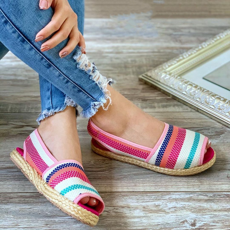 Women's Lightweight Striped Canvas Peas Shoes