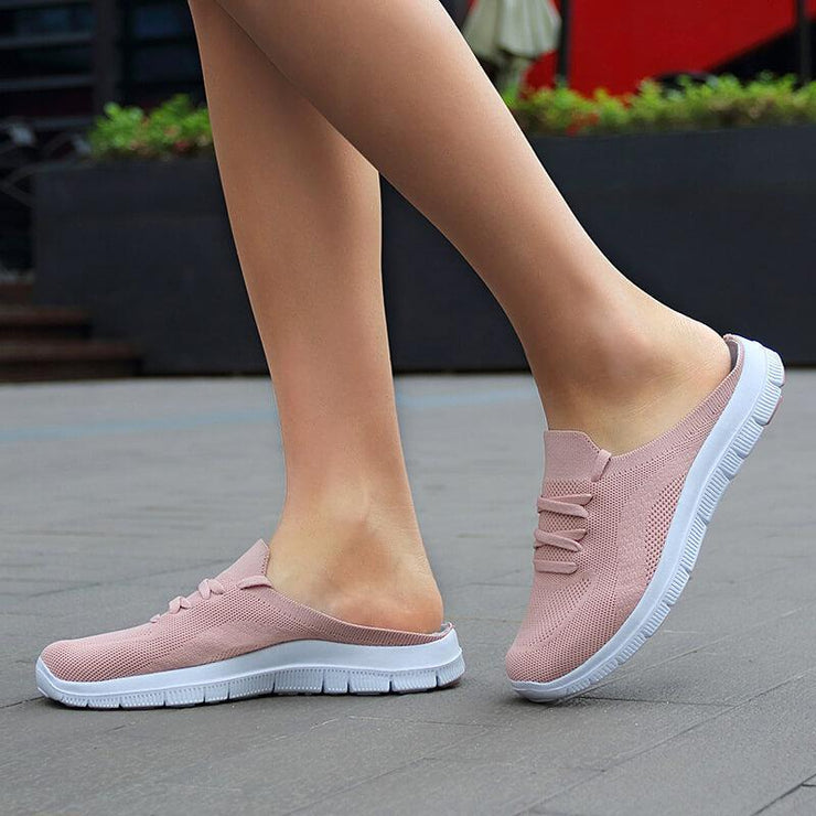 Women's Flyknit Fabric Slip On Flat Walking Slippers